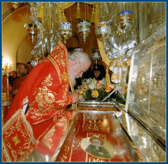 Святейший Патриарх у мощей святой Матроны