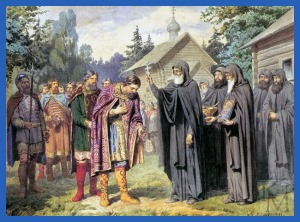 Преподобный Сергий благословляет князя Димитрия