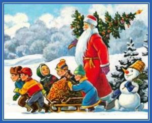 Дед Мороз, дети, елка