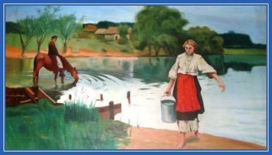 Девушка, река, крестьянка
