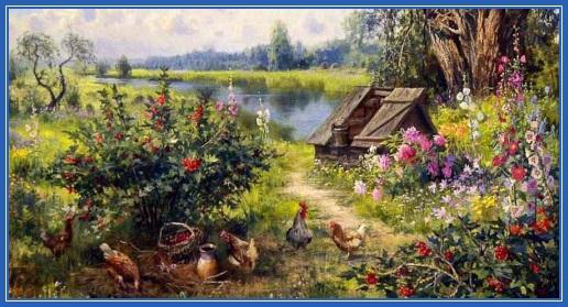 Цветы, картина, речка