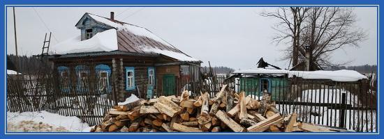 Деревня, зима, дом, дрова
