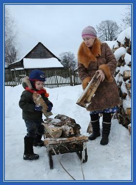 Мама и ребенок, труд