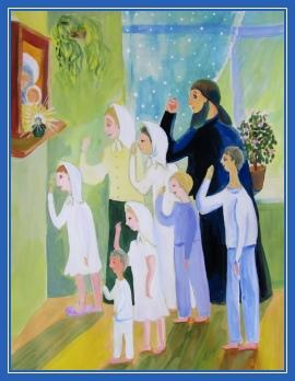Молитва, Крестное знамение, рисунок, дети
