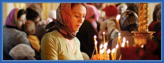 Девушка, в храме, молитва