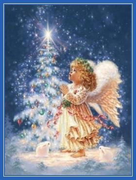 Ангел молится, у елочки