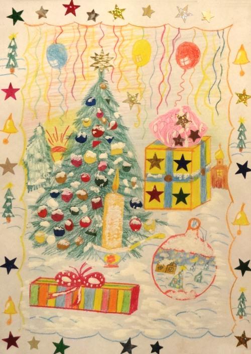 Елка, подарки. Рисунок Миши Романова