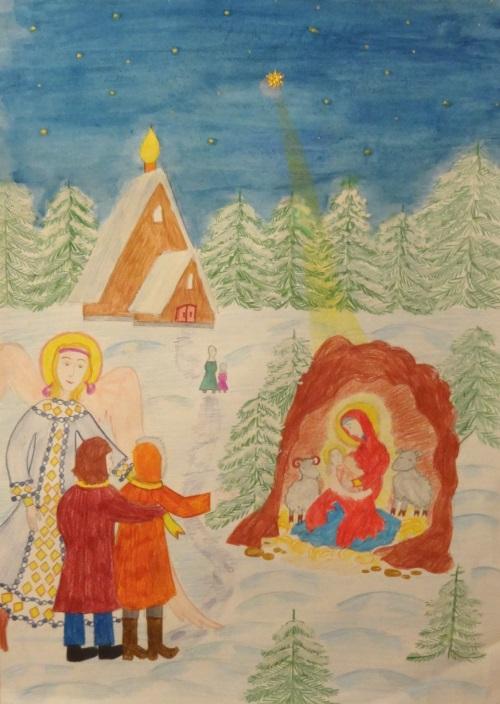 Рождественский рисунок Кати Романовой