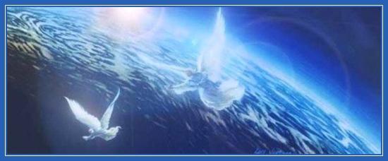 Два Ангела, над землей, Ангельская работа, планета, помощь