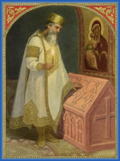 Князь Владимир у гробницы княгини Ольги.