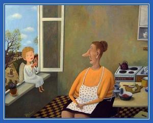 Бабушка, внук, дитя, кухня