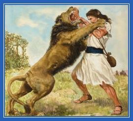 Самсон и лев, раздирает пасть льва
