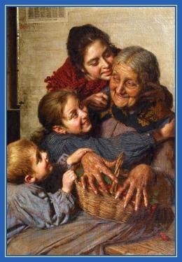 Бабушка с внуками