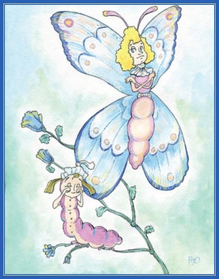 Гусеница и бабочка, рисунок