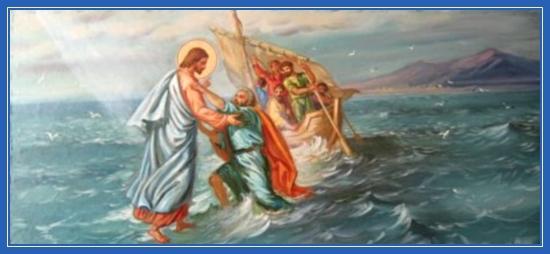 Хождение по водам, спасение Петра, утопающий, буря