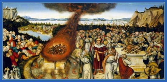 Пророк Илия, розжигает огонь