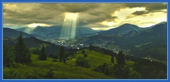 Благодать, луч света, облака, пейзаж, природа, горы