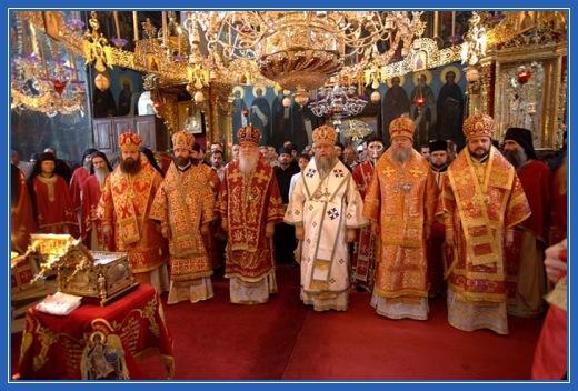 Торжество, архиереи, владыики, служба, Пантелеимонов монастырь, Афон