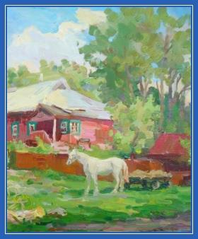 Конь, лошадь, картина, двор