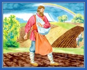 Крестьянин, сеет, пашет, поле, пшеница, труд