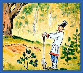 Поиски клада, лопата, крестьянин