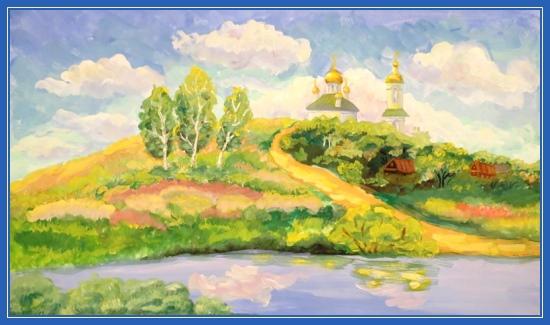 Храм, река, лето, красивая картина