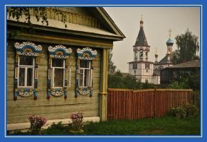 Изба, храм, дом, церковь, православны пейзаж