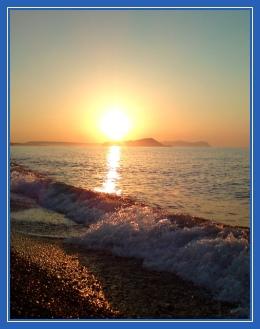 Море, берег, волны, закат, солнце