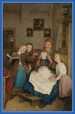 Бабушка с внуками, чтение, дети, изба, крестьяне