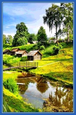 Деревня, природа, лето, речка, избы