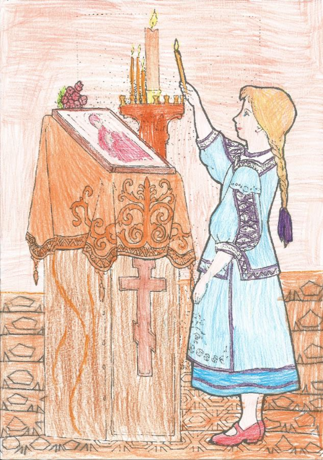 Девочка ставит свечку в Храме. Раскрасила София (9 лет)