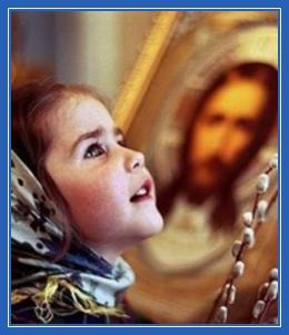 Девочка, верба, молитва, христианка
