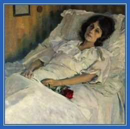 Больная женщина, на постели