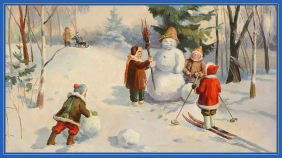 Дети и снеговик, зима