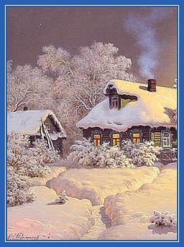 Изба, зима, снег