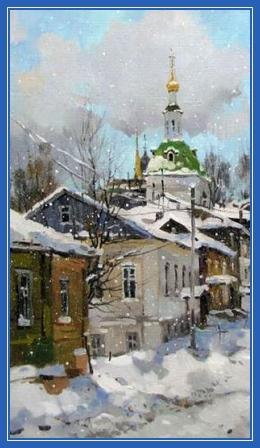 Крещенский снег, картина, храм, зима