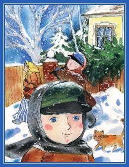 Мальчик, елка, снег, Рождество