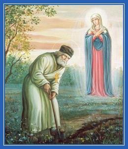 Преподобный Серафим Саровский копает конавку