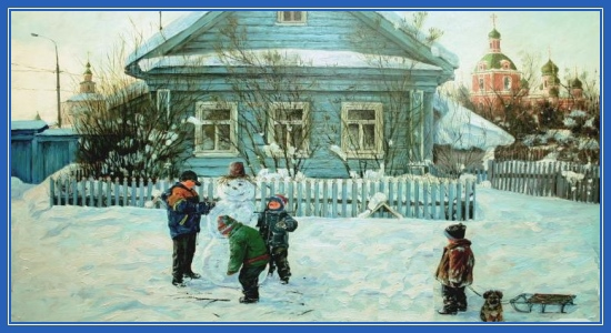 Ребята лепят снеговик