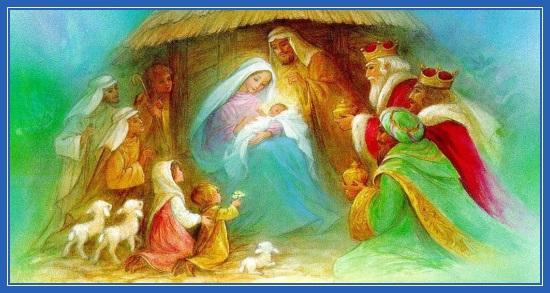Рождество Христово, поклонение волхвов, пастухи, картина