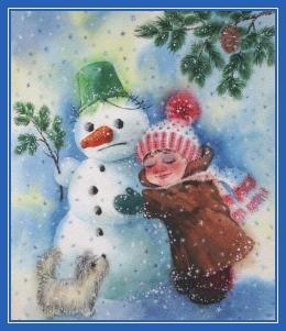 Снеговик и девочка, зима