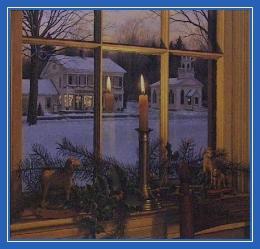 Сочельник, свеча, окно, Рождество