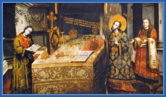 Святитель Иоанн Златоуст совершает Литургию