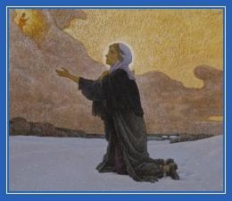 Блаженная Ксения молиться на снегу