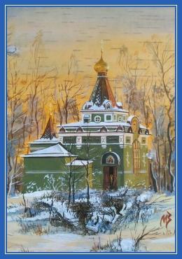 Часовня блаженной Ксении, храм, зима