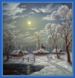 Луна, зима, храм, ночь