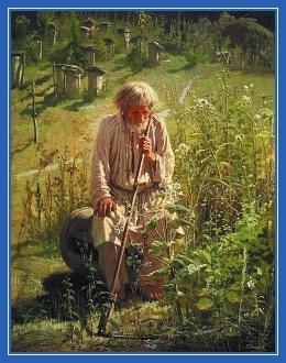 Старик, ульи, коса, труд, усталость, дед