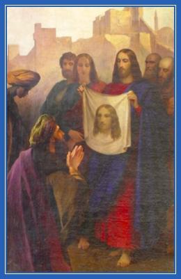 Убрус Христа, Нерукотворный образ Спасителя, Господь дает на полотенце