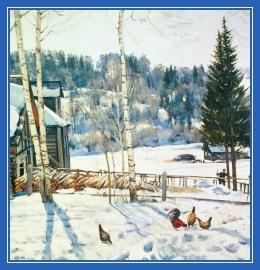 Зима, февраль, деревня, курица