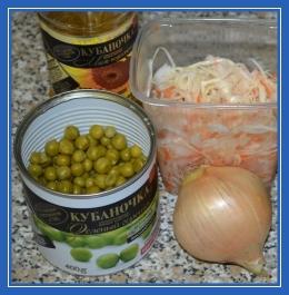 Постные продукты, горошек, капуста, масло